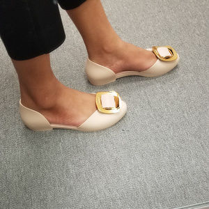 Womens Nude Jelly Cut-Out Side Flats